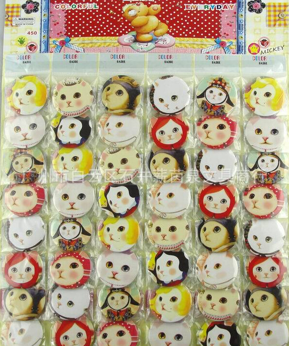 New 48pcs/set Cartoon Cat Pin Badges,Round Brooch Badge Kids Clothing Accessories 4.5 cm Free Shipping Z-19(China (Mainland))