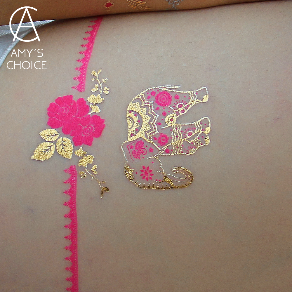 Pinky Elephant Gold Temporary Tattoo Body Art Flash Tattoo Sticker 21 15cm Waterproof Sex Products Henna