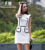 New Arrival 2015 Bodycon Dresses Plus Size Black And White Dress Pencil Summer Dress Vintage Vestidos Women Clothing D013