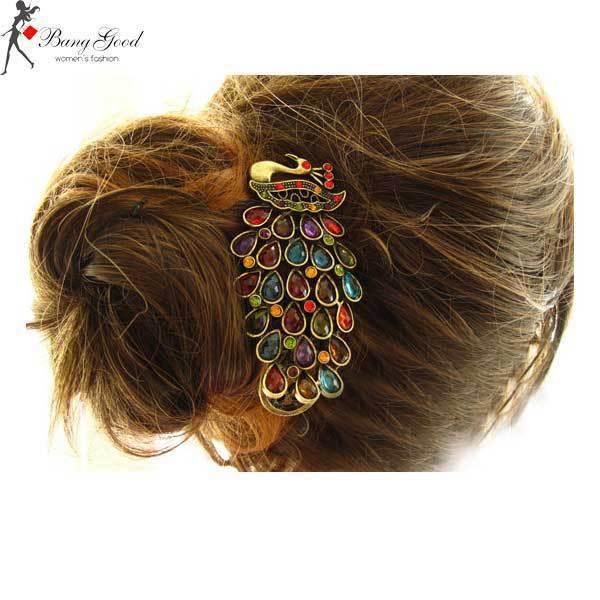 BuyOnsee Cheap Fashion Beautiful Peacock Crystal Hairpin(China (Mainland))