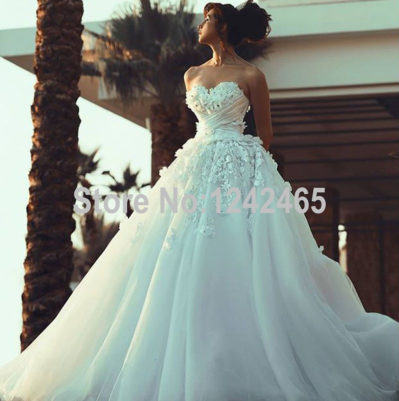 Aliexpress Buy Ball Gown Sweetheart Pleated Buy Wedding Gowns Online Puffy Soft Tulle