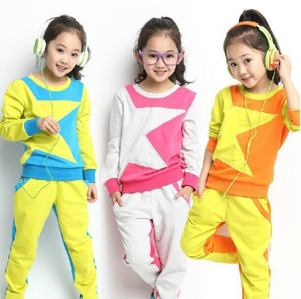 Kids Clothes Long-Sleeved Suit Girls Clothes Pentacle Multicolor Sport Piece Suit Children Family Clothing Sets BD001()