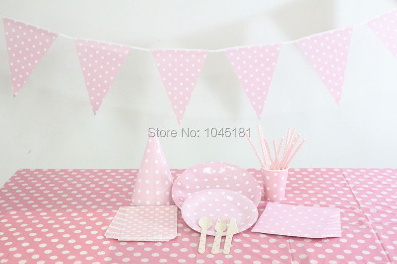 Party Decoration Supply Disposable Pink Paper Straws Cups Plates Napkins Bags Wooden Cutlery Party Hats Paper Flags Tablecloth(China (Mainland))