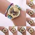 Women Girl Handmade Weaved Braided Butterfly Bracelet Dial Quarzt Watch wholesale Free shipping
