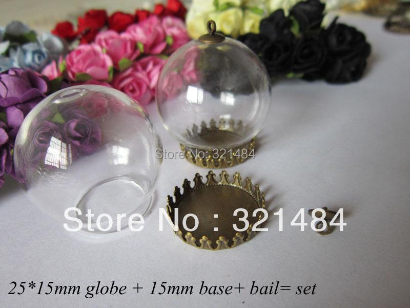 50set glass bottle vials pendants jewelry making 25*15mm globe&amp;15mm antique bronze bezel blank setting base&amp;caps finding<br><br>Aliexpress