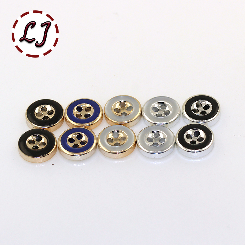 free shipping 30PCS/LOT plating buttons 4 Holes round ...