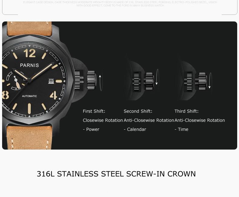Parnis Commonder II Seriers Светящиеся Мужские Кожаный Ремешок Моды Автоматические Механические Часы Наручные Часы