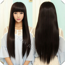 70CM Sexy Lady Long Straight Women Wig Black Cosplay Synthetic Fast Shipping Cute Fringe U Part(China (Mainland))