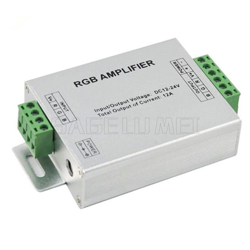 free shipping 1pcs DC12V-24V 12A RGB AMPLIFIER Controller Signal Amplifier For 3528SMD 5050SMD RGB LED Strip Light