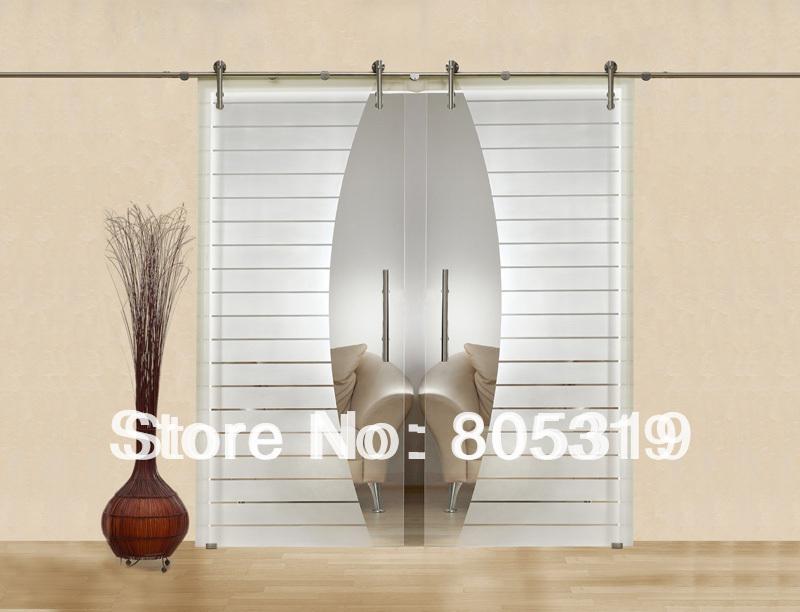 Buy Modern Interior Glass Sliding Barn Door Hardware Double Sliding Glass Barn