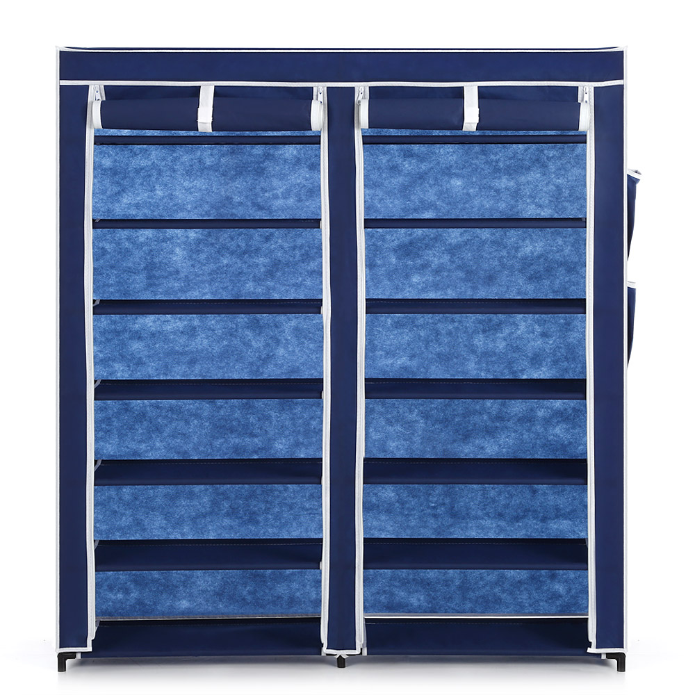 IKAYAA 12 Grids Shoes Storage Organizer Classic Portable Fabric Shoes Rack Shoe Cabinet With Curtain For Room Or Doorway(China (Mainland))