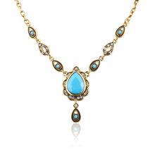 Bohemia Style Statement Vintage Antique Gold plated 3 Color Resin Elegant Pendant &Necklace  Women Banquet Wholesale YUN1062~064(China (Mainland))