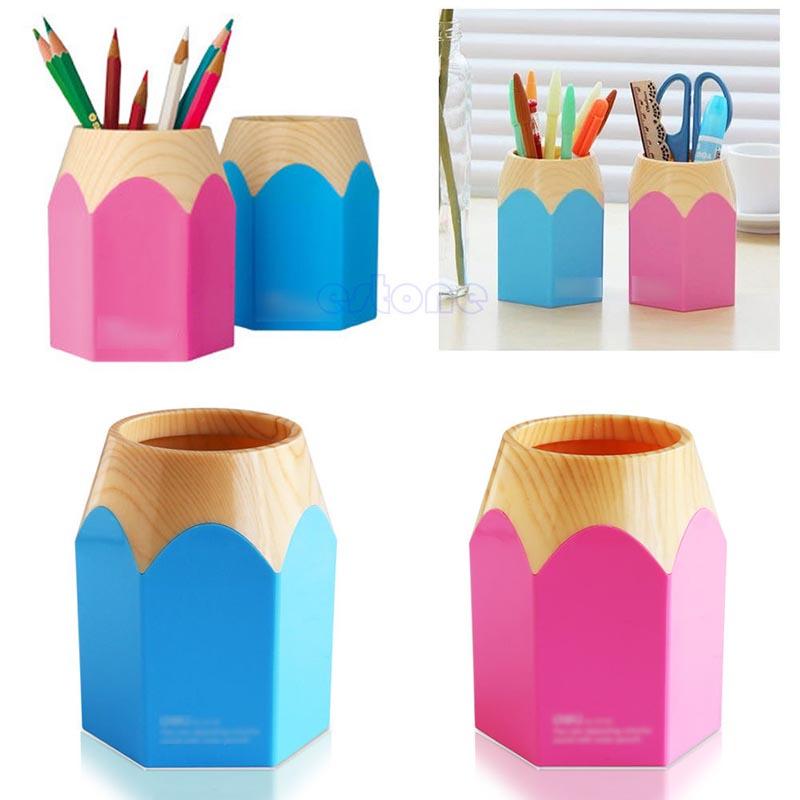 "Z101"" Pink/Blue Pencil Makeup Brush Holder Pen Cup Box Desk Organizer Kids Gift New(China (Mainland))"