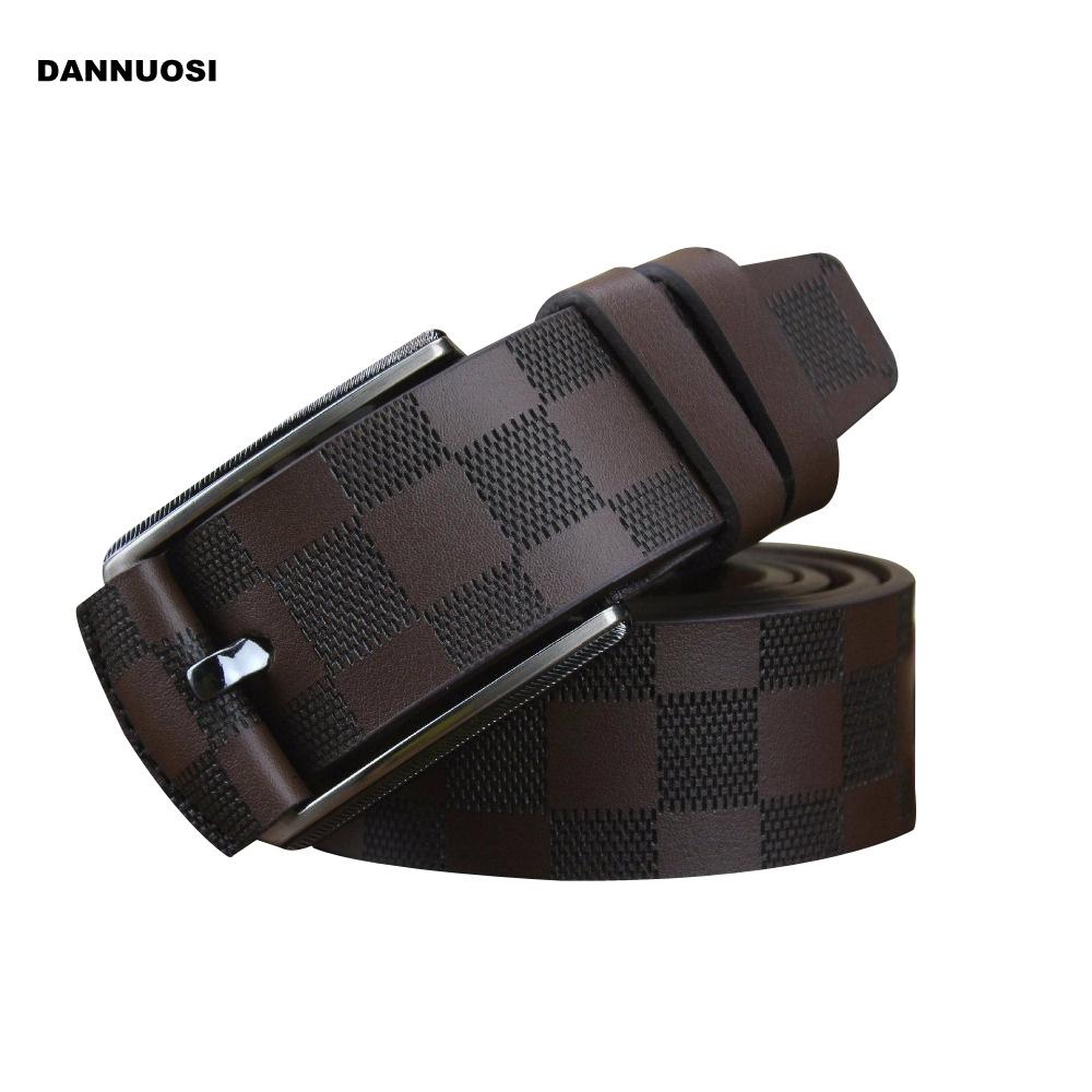 [DANNUOSI]2016 new 100% high quality leather belt men's plaid casual fashion belt luxury pure leather belt(China (Mainland))