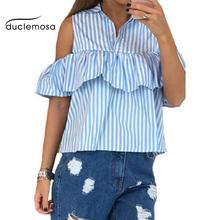 Duclemosa Casual Summer Fashion Women Striped Plaid Short Sleeve Blouses Ruffles Off The Shoulder Sexy Tops Shirts Blusas(China (Mainland))