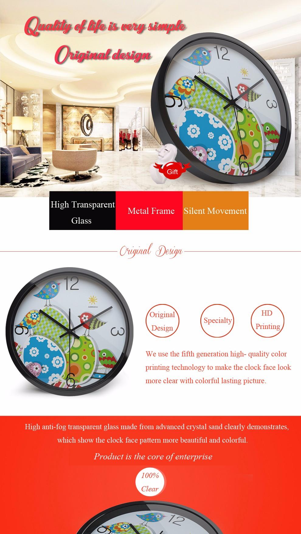 Airinou Simple quiet jungle pastoral cartoon birds quartz glass clock, wall clock 10inch 12inch 14inch