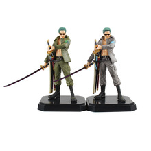 One Piece Zoro painted figure Military Style Roronoa PVC Action Figure Collectible Model Toy 22.5cm KT2389 - Anitoy Group store