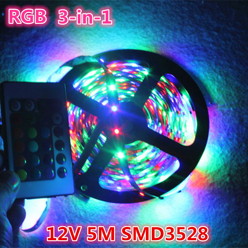 RGB 3528 Non-Waterproof Led Strip Flexible Light 5M 300 LED DC 12V With 24 key remote + adapter power supply led lighting<br><br>Aliexpress