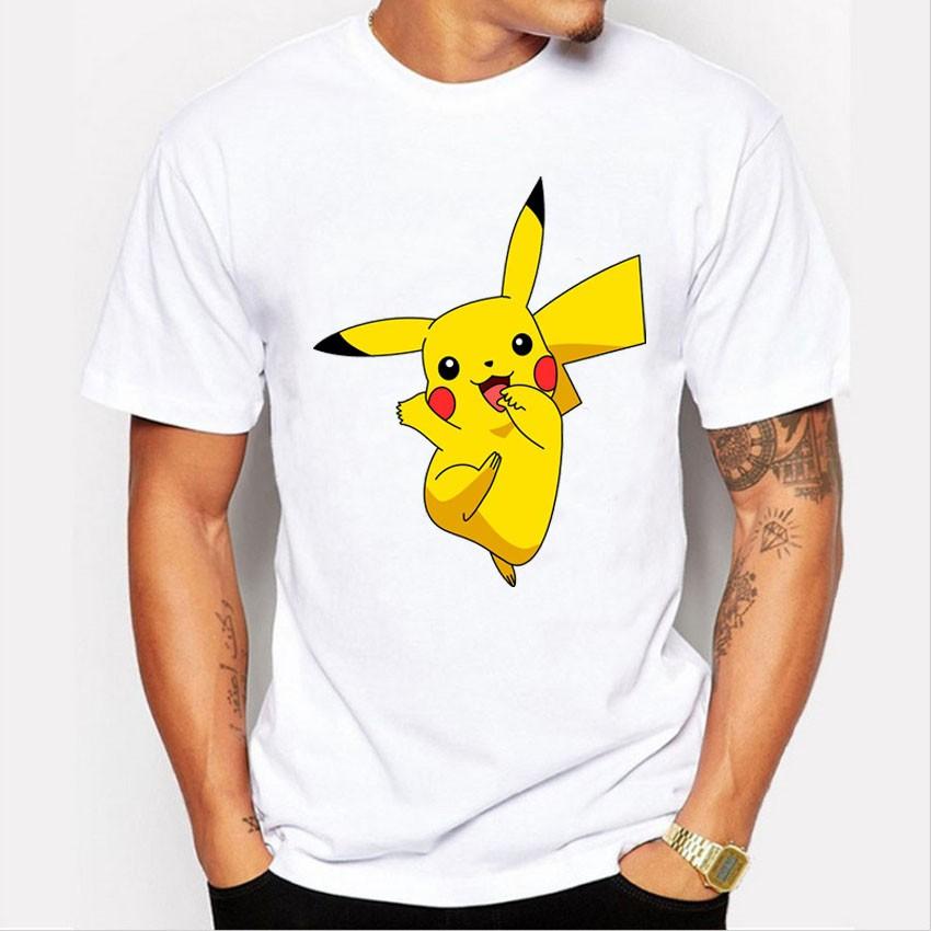 Men's T-shirt Fashion Pokemon Go Print T Shirt Summer Style Hot Anime Cute Pikachu Design Tshirt Homme harajuku pokemon shirt