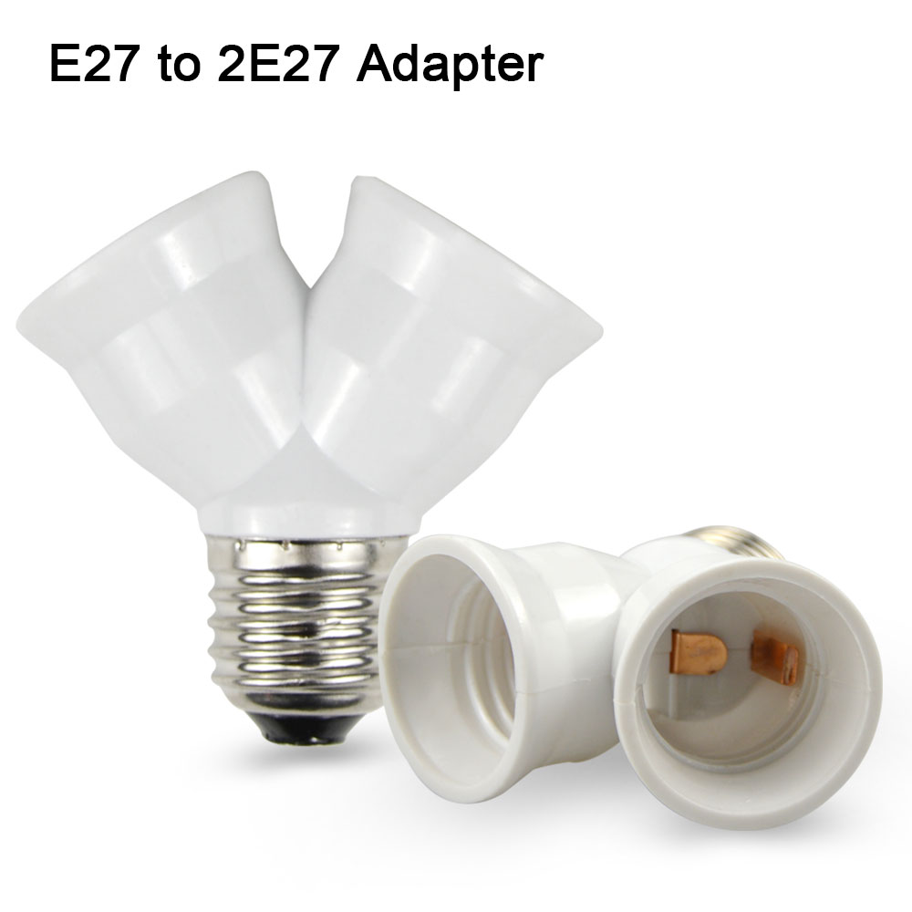 1pcs Fireproof Material E27 To 2 E27 Lamp Holder Converter Socket Conversion Light Bulb Base
