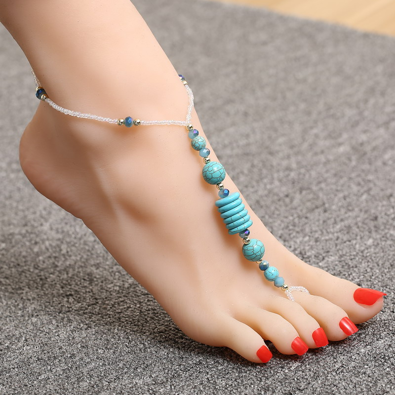 Cute Turquoise Bead Design Chain Anklets For Girls Special Mini Glass Crystal Toe Ankle Decoration Resilient Anklets(China (Mainland))