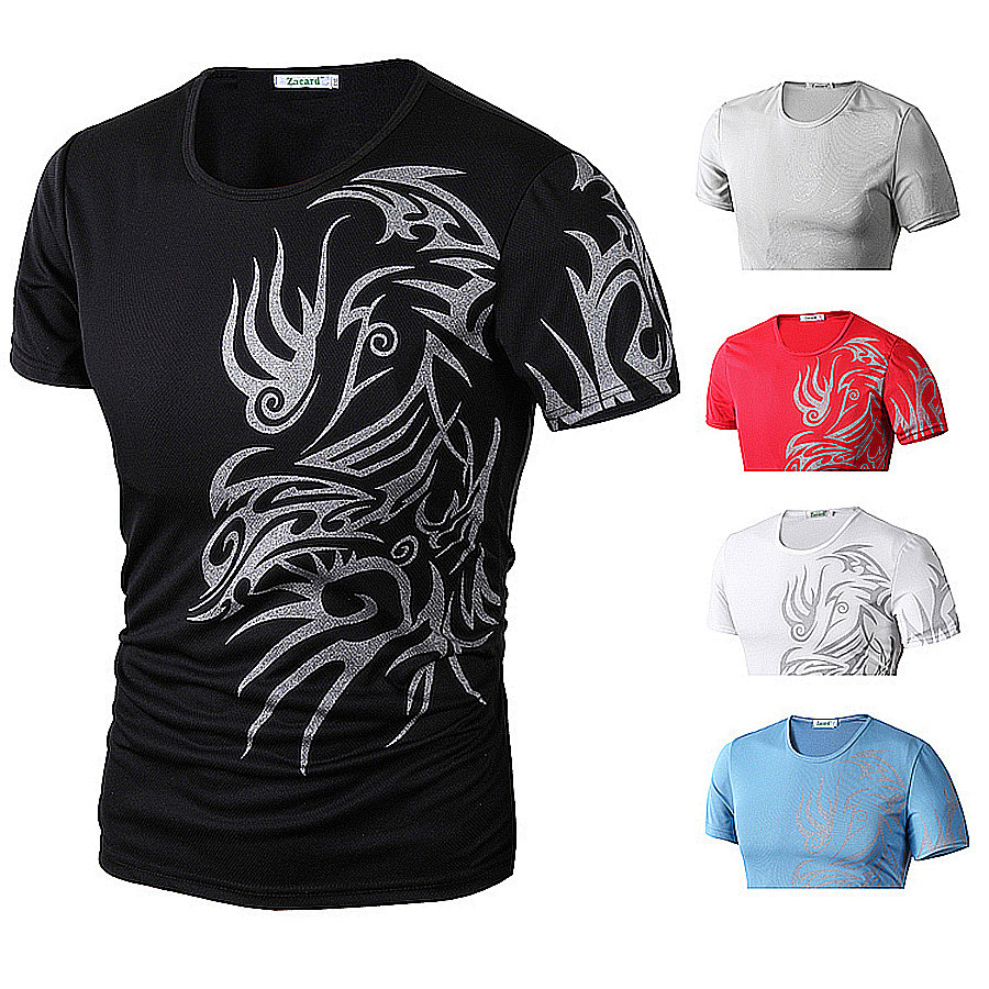 2015 Fashion Brand 9style T Shirts Men Novelty Dragon Printing Tattoo Male O-Neck T Shirts M L XL XXL XXXL(China (Mainland))