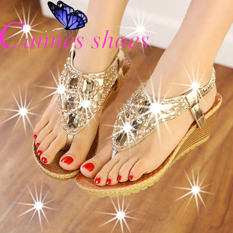Luxury brand women sandals Platform high heels wedges sandals Bohemia rhinestone beaded wedges sandals women flip flops cannes(China (Mainland))
