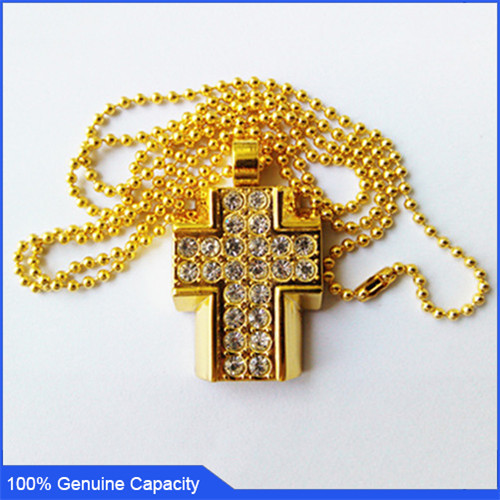 100% Genuine USB Flash Drive crystal necklace bling cross shaped memory stick pen drive 4GB 8GB 16GB 32GB pendrive Free shipping(China (Mainland))