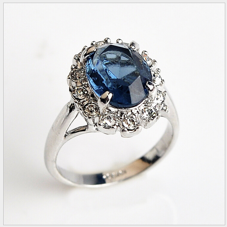 Fashion Elegant Sapphire Jewelry Ring Brand Zirconia Stone Engagement Wedding