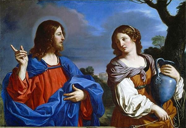 Beautiful Oil painting Jesus Christ and the Woman of Samaria in landscape(China (Mainland))