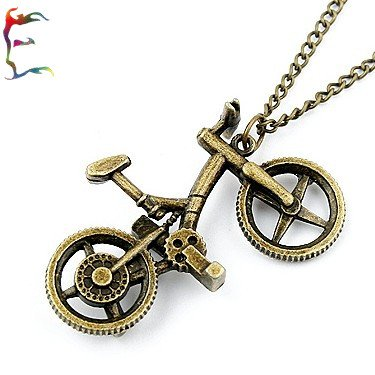 Hot casual Bike pendant bronze color sweater necklace New arrival bicycle alloy metal cartoon necklace Wholesale free shipping(China (Mainland))