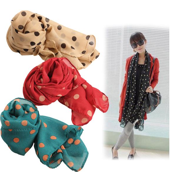 2016 осень зима мода женщины дамы горошек место мягкая шаль шарф шеи обернуть платок 4 цветов PTSP
