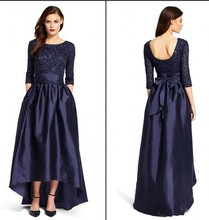 Navy Blue Hi Lo Evening Dresses 2016 Cheap Sequins Beaded Taffeta Bow Sash Three Quarter Long Sleeves Backless Gown - Rosy Memory store