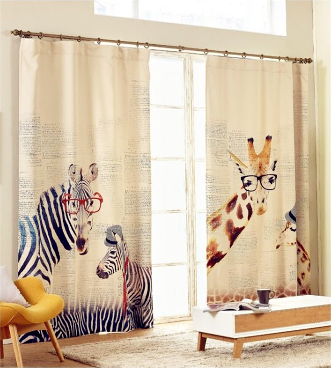 High quality Modern Style Zebra giraffe linen curtains for kids Bedroom Living Room curtains Free shipping(China (Mainland))