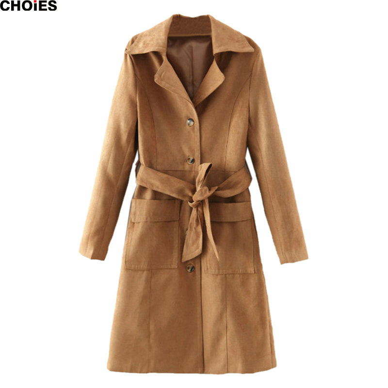 CHOIES Women Brown Lapel Belted Waist Faxu Suede Longline 2015 Fall Winter New Casual Loose Streetwear Trench Coat
