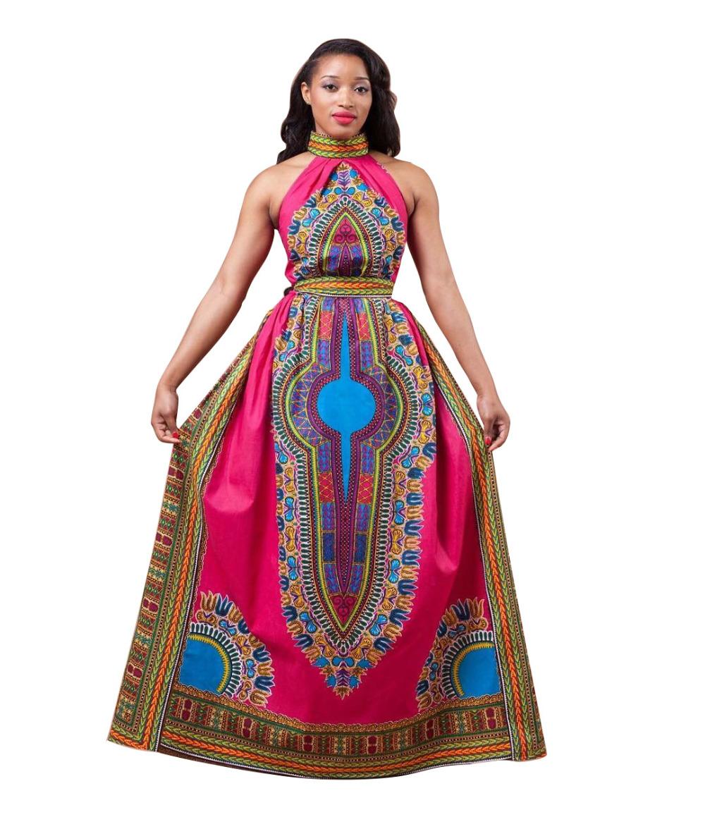 2016 African Clothing Women maxi Dress women Bazin Riche red Dashiki dress off shoulder halter long vintage dress plus size(China (Mainland))