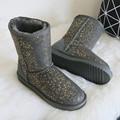 BLIVTIAE Luxury Winter Australia Sheepskin Snow Boots Natural Wool SheepFur Boots Mid Calf Flat Women Boots