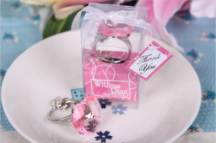 Baby Shower Key Ring Favors ~ Pcs diamond ring key chain keychain gift box