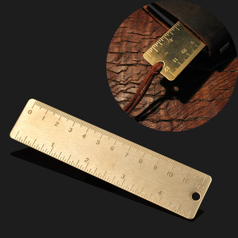 Vintage EDC Brass Handy Straight Ruler Pendant Pocket School Copper Metal Bookmark Dual Scales(China (Mainland))