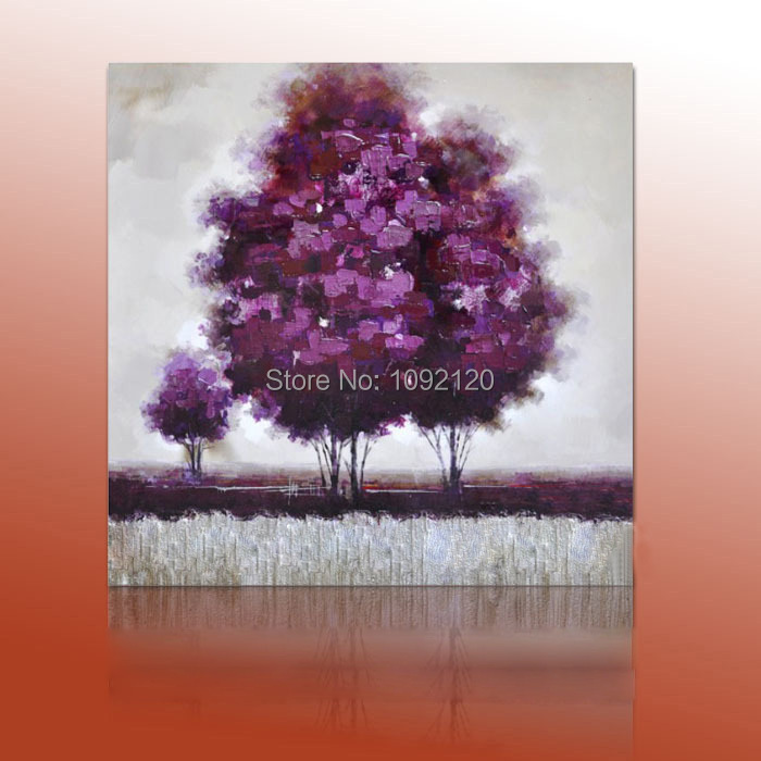 Modern Abstract Wall Art Hand Painted Purple Tree Landscape Oil Painting Canvas Paintings For Living Room Home Decor(China (Mainland))
