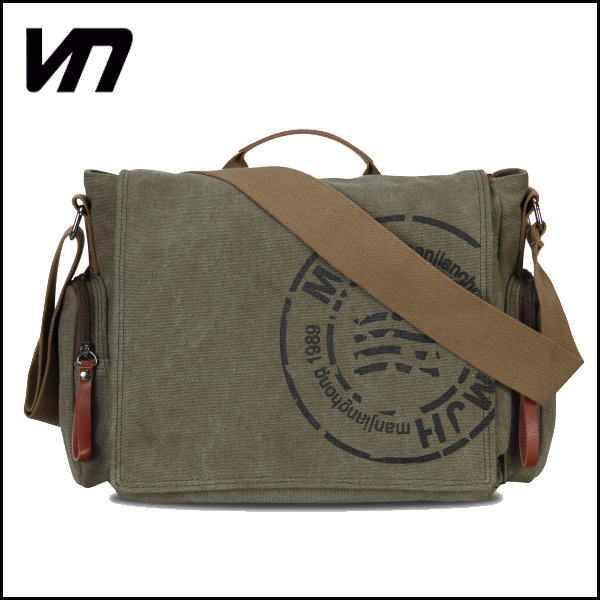 VN Canvas Genuine leather messenger bag fashion shoulder bags casual crossbody cross body bag brand handbags men's travel bags(China (Mainland))