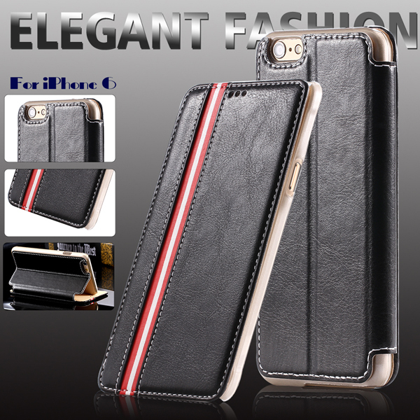 Classic Leather Case For iphone 6 6S Plus 5.5inch Wallet Mobile Phone Cases Stripe Support Bag Cover For iphone 6 6S 4.7(China (Mainland))