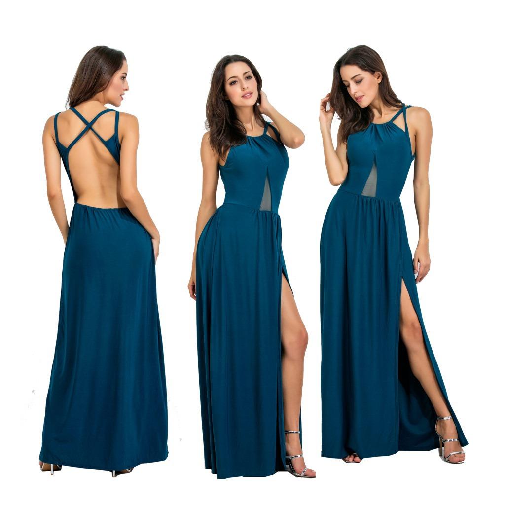 2019 летнее женское платье сексуальная с бретельками длинная однотонная 3