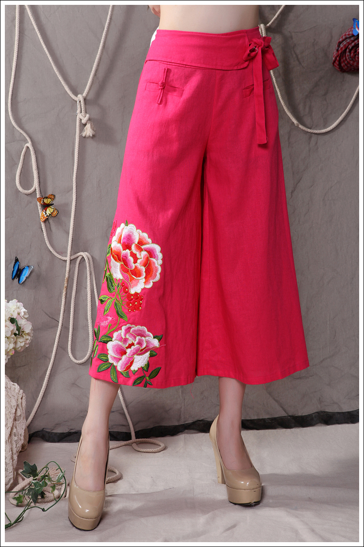 Free shipping New spring and summer 2016 new first fine embroidered linen wide leg seven minutes pants Girl dress D166(China (Mainland))