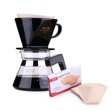 Yami Coffee Maker SET : ceramic coffee filters cup + glass coffee tea pot + 40 count coffee paper filter(China (Mainland))