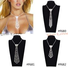 Fashion Sexy Rhinestone Bow Tie Necktie Necklace Women Jewelry Gift 1 Pc New(China (Mainland))