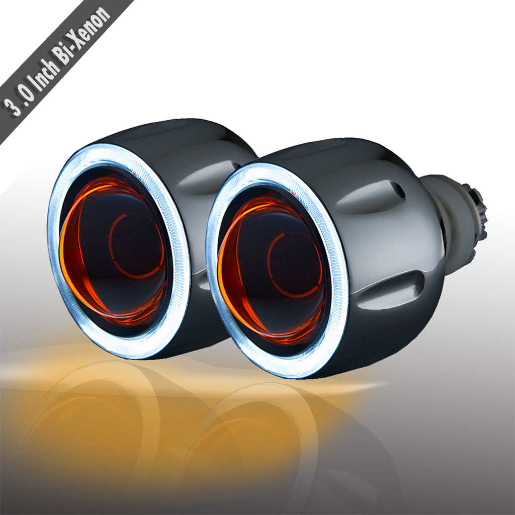 35W Projector Lens Headlight kit 9005 9006 9007 H1 H7 H4 3.0 inch HID bi xenon car light source - BOGES Auto Parts store