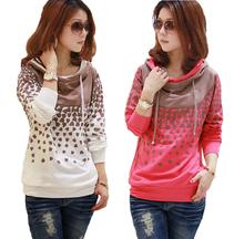 Women Hoodies Sweatershirt Sudaderas Mujer 2016 moletom Pullover Hoodies Dot Fashion Plus Size Sweatershirt Cotton Hoodies(China (Mainland))
