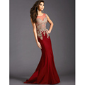 Sexy Ruby Mermaid Evening Dresses with Gold Appliques Lace Illusion Tulle Neckline 2016 New Arrival Formal