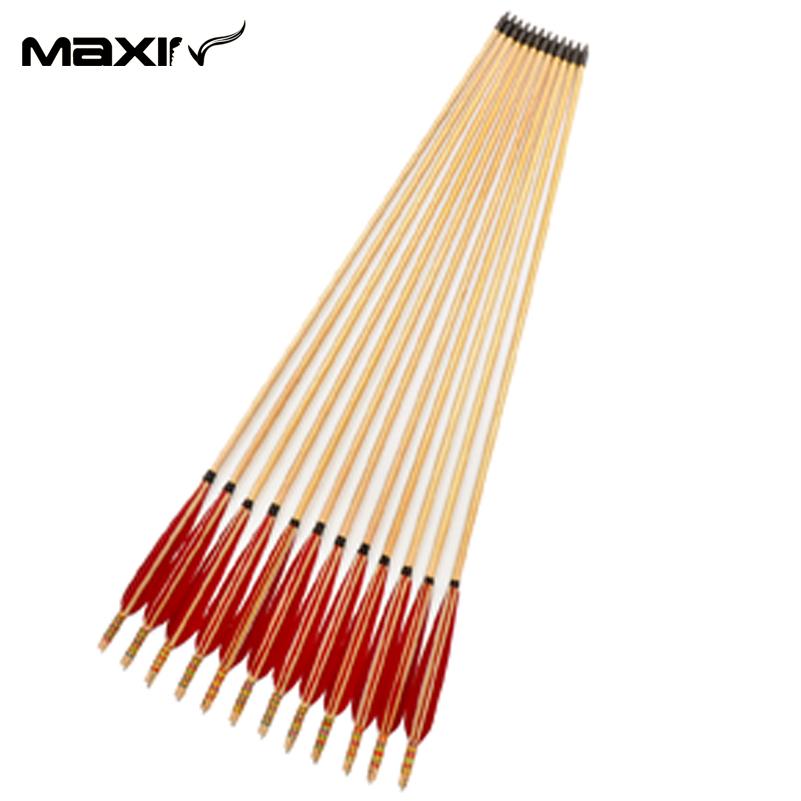 12x Handmade White Pine Wood Arrow Colorful Decoration 80cm Sheild Archery Red Turkeys Feather Iron Head